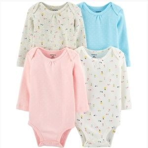 Carter's 4 pack floral long sleeve bodysuits
